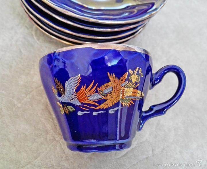 Antigüedades: juego te cafe porcelana tazas platos tetera azul y dorado japon EIHO - Foto 6 - 56994639