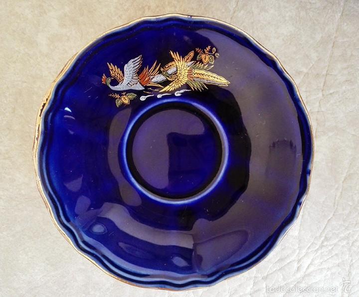 Antigüedades: juego te cafe porcelana tazas platos tetera azul y dorado japon EIHO - Foto 7 - 56994639
