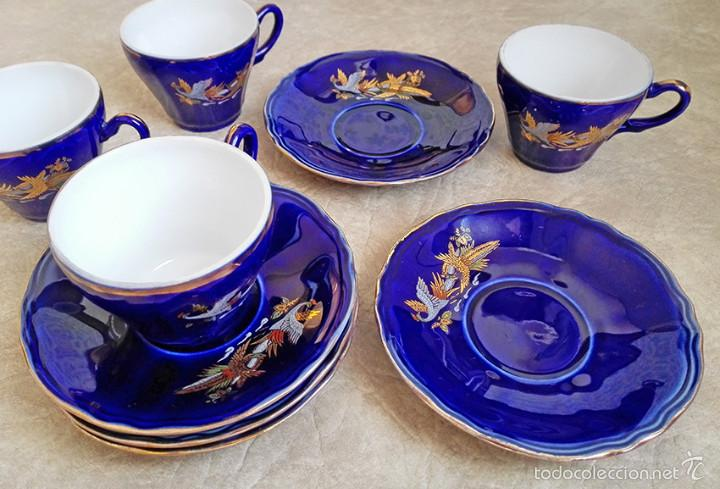 Antigüedades: juego te cafe porcelana tazas platos tetera azul y dorado japon EIHO - Foto 8 - 56994639