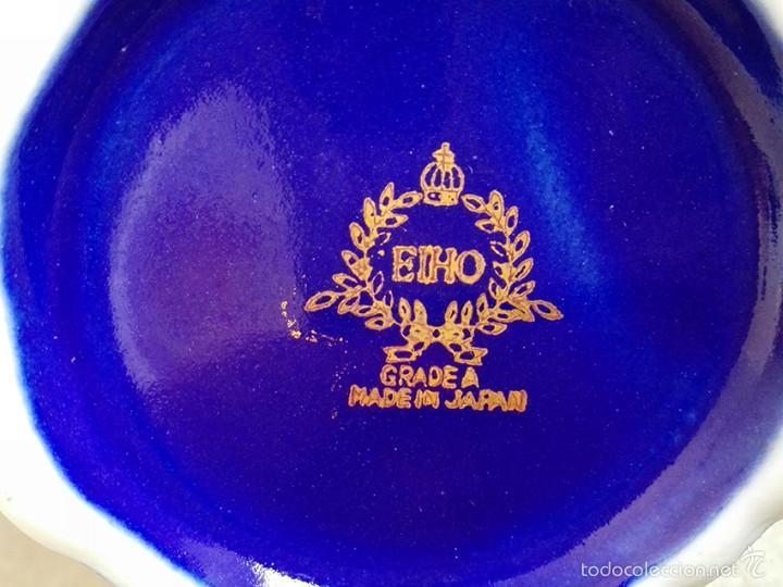 Antigüedades: juego te cafe porcelana tazas platos tetera azul y dorado japon EIHO - Foto 9 - 56994639