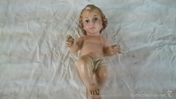 ANTIGUO NIÑO JESUS DE OLOT OLOS DE CRISTAL PARA RESTAURAR VER FOTOS (Antigüedades - Religiosas - Varios)
