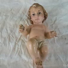 Antigüedades: ANTIGUO NIÑO JESUS DE OLOT OLOS DE CRISTAL PARA RESTAURAR VER FOTOS. Lote 57002121