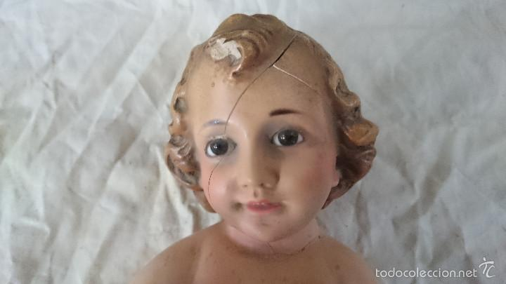 Antigüedades: ANTIGUO NIÑO JESUS DE OLOT OLOS DE CRISTAL PARA RESTAURAR VER FOTOS - Foto 2 - 57002121