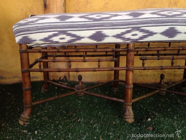 banco de madera antiguo tapizado con tela mallo - Comprar Sillas ...