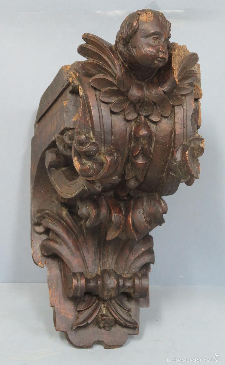 ANTIGUA Y PRECIOSA MENSULA BARROCA DE MADERA TALLADA. SIGLO XVIII (Antigüedades - Muebles Antiguos - Ménsulas Antiguas)