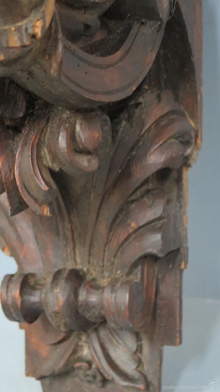 Antigüedades: ANTIGUA Y PRECIOSA MENSULA BARROCA DE MADERA TALLADA. SIGLO XVIII - Foto 3 - 57012884