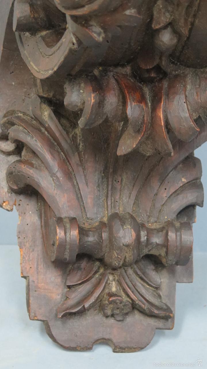 Antigüedades: ANTIGUA Y PRECIOSA MENSULA BARROCA DE MADERA TALLADA. SIGLO XVIII - Foto 6 - 57012884