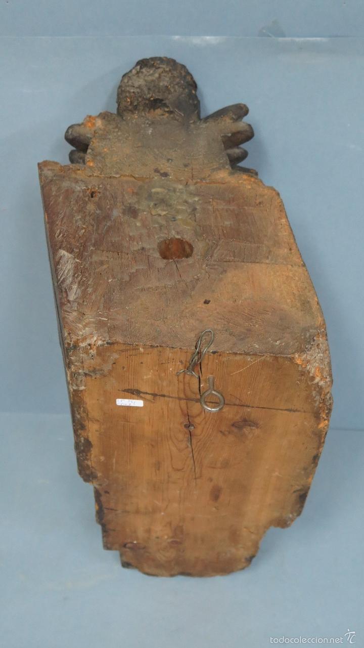 Antigüedades: ANTIGUA Y PRECIOSA MENSULA BARROCA DE MADERA TALLADA. SIGLO XVIII - Foto 7 - 57012884
