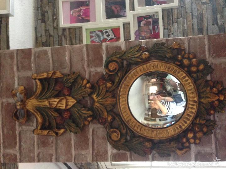 Antigüedades: Impresionante espejo estilo isabelino ppios siglo Xx, en pan de oro policromado. - Foto 3 - 57016837