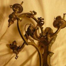 Antigüedades: PAREJA DE APLIQUES DE BRONCE. Lote 57032060