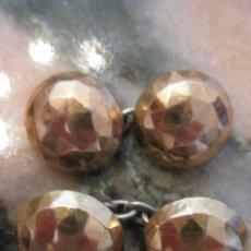 Antigüedades: GEMELOS ANTIGUOS DE PLATA DE LEY Y VISTAS DE ORO SIN USO - PRECIOSOS. Lote 57036602