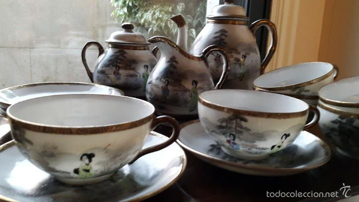 Antigüedades: Juego de café. Antigua porcelana fina JAPONESA SIGLO XIX - Foto 3 - 57045841