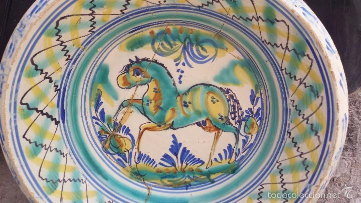 Antigüedades: antiguo lebrillo de triana pintado a mano - Foto 2 - 57047283