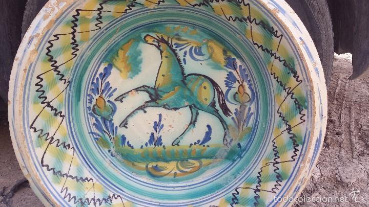 Antigüedades: antiguo lebrillo de triana pintado a mano - Foto 2 - 57047326