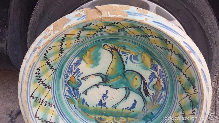 Antigüedades: antiguo lebrillo de triana pintado a mano - Foto 3 - 57047326