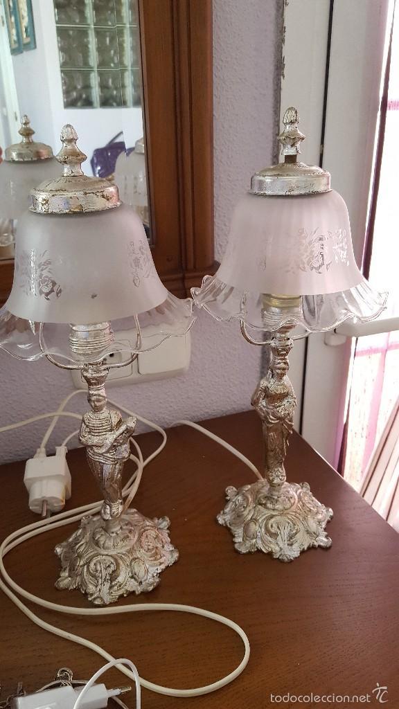 pareja de lámparas de mesita de bronce con term - Comprar Lámparas ...