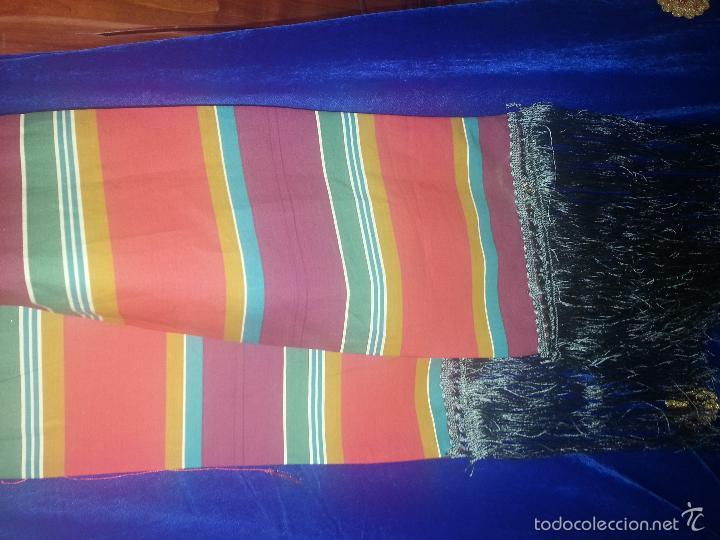 Antigüedades: precioso fajin cinturilla para vestimenta virgen hebrea tamaño natural con flecos mas de 3 metros - - Foto 5 - 112704323
