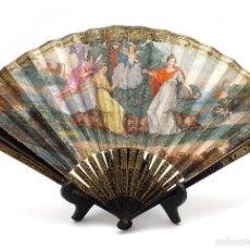 Antigüedades: ABANICO CON VARILLAJE EN MADERA PINTADA Y PAÍS EN PAPEL PINTADO A MANO SIGLO XVIII. Lote 57057760