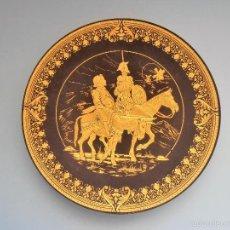 Antigüedades: PLATO METALICO GRABADO DON QUIJOTE Y SANCHO PANZA #AA-R. Lote 57061449