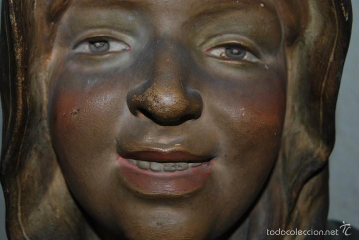 Antigüedades: PRECIOSO BUSTO MODERNISTA - FIGURA DE MUJER CON CAPA Y CAPUCHA - MODERNISMO - ART NOUVEAU - C. 1880 - Foto 4 - 57074989