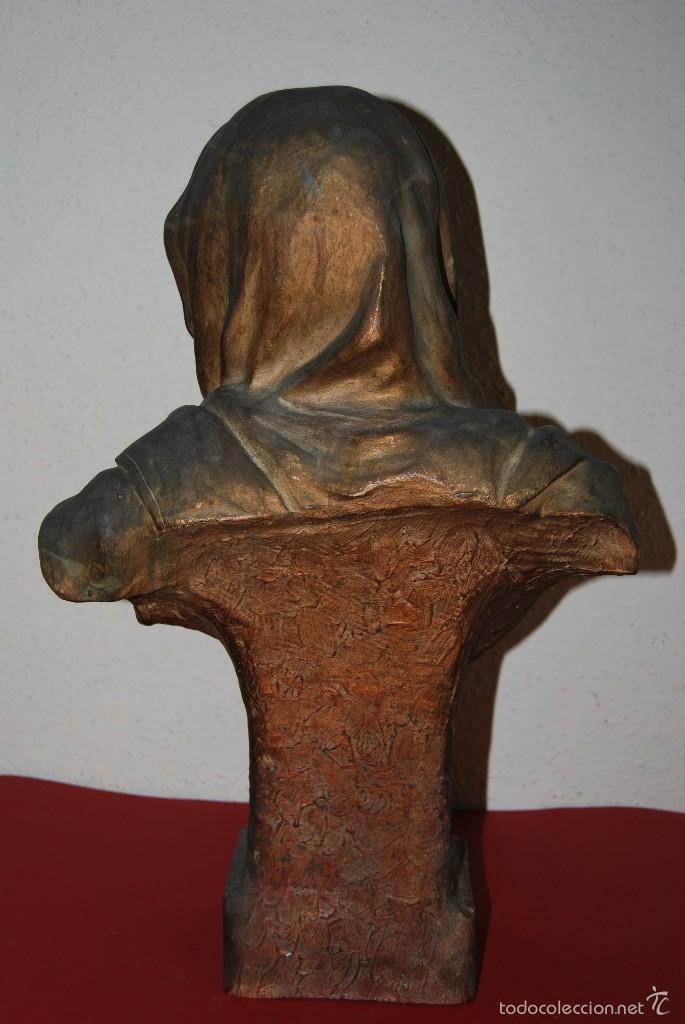 Antigüedades: PRECIOSO BUSTO MODERNISTA - FIGURA DE MUJER CON CAPA Y CAPUCHA - MODERNISMO - ART NOUVEAU - C. 1880 - Foto 7 - 57074989