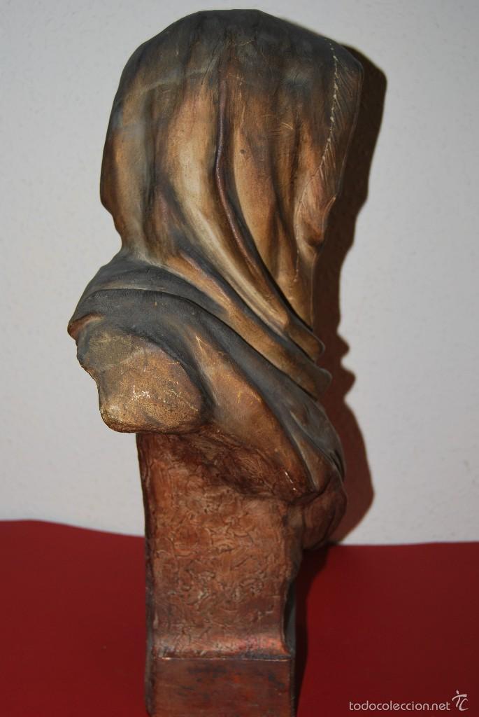 Antigüedades: PRECIOSO BUSTO MODERNISTA - FIGURA DE MUJER CON CAPA Y CAPUCHA - MODERNISMO - ART NOUVEAU - C. 1880 - Foto 11 - 57074989