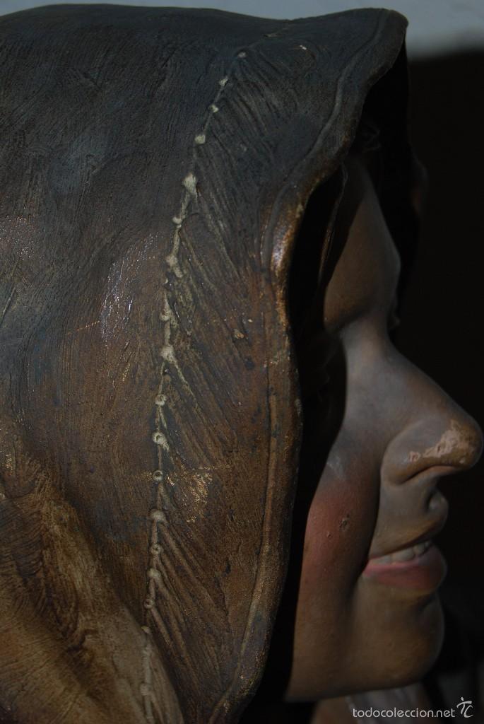 Antigüedades: PRECIOSO BUSTO MODERNISTA - FIGURA DE MUJER CON CAPA Y CAPUCHA - MODERNISMO - ART NOUVEAU - C. 1880 - Foto 12 - 57074989