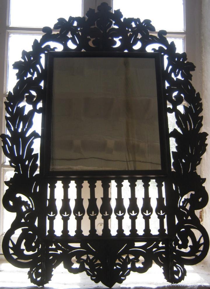 Antigüedades: 85 cm - Gran Espejo cornucopia antiguo en palma de caoba s.XIX Ramos y flores - Foto 4 - 57079595