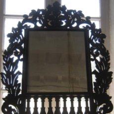 Antigüedades: 85 CM - GRAN ESPEJO CORNUCOPIA EN PALMA DE CAOBA MACIZA - MODERNISTA ART NOVEAU 1900/20. Lote 57079595