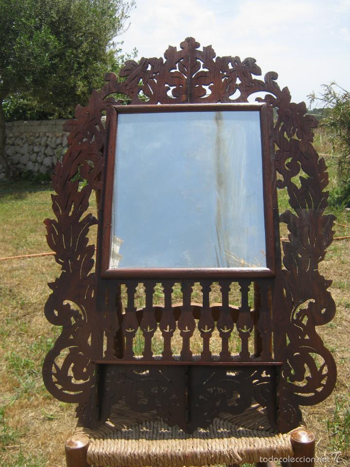 Antigüedades: 85 cm - Gran Espejo cornucopia antiguo en palma de caoba s.XIX Ramos y flores - Foto 2 - 57079595