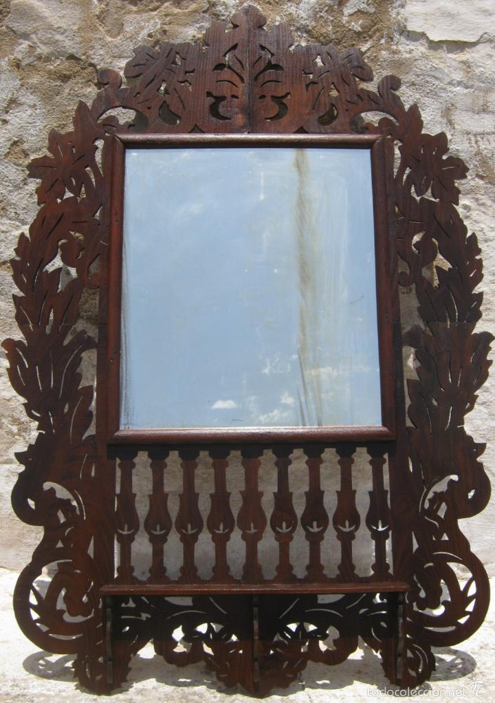 Antigüedades: 85 cm - Gran Espejo cornucopia antiguo en palma de caoba s.XIX Ramos y flores - Foto 3 - 57079595