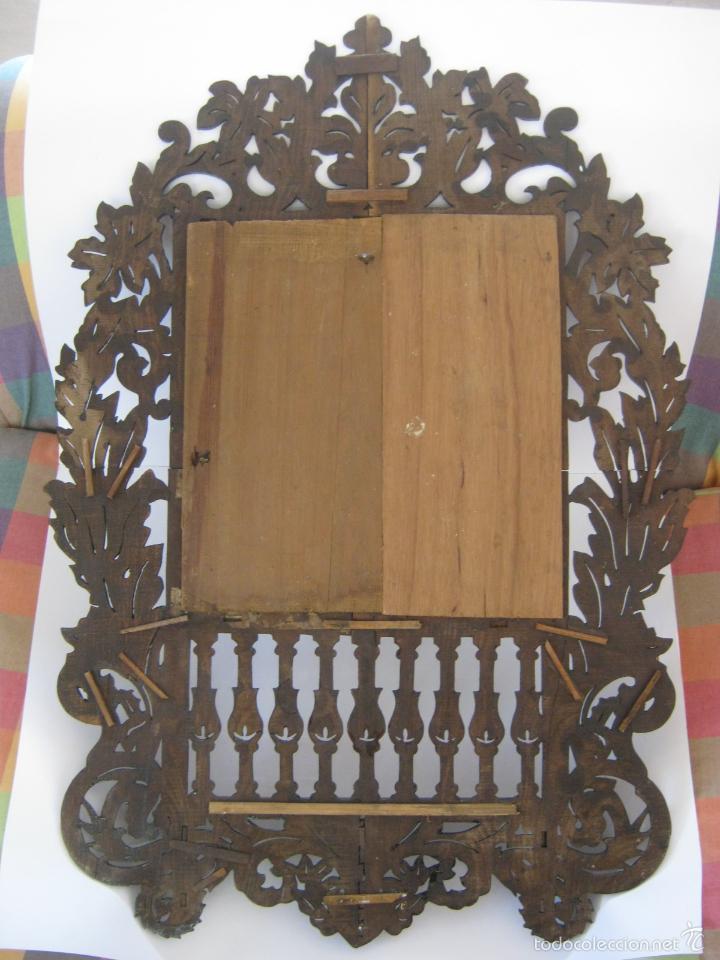 Antigüedades: 85 cm - Gran Espejo cornucopia antiguo en palma de caoba s.XIX Ramos y flores - Foto 5 - 57079595