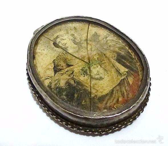 Antigüedades: ANTIGUO RELICARIO DE PLATA IMAGEN LA VERONICA SANTA FAZ- S.XVIII-S.XIX - Foto 7 - 57084769