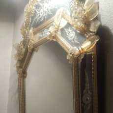 Antigüedades: IMPRESIONANTE ESPEJO MURANO VENECIA. CERTIFICADO DE AUTENTICIDAD. PIEZA EXCLUSIVA NUMERADA Y FIRMADA. Lote 57085079