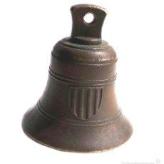 Antigüedades: ANTIGUA CAMPANA FECHADA 1668 CON ESCUDO DE NAVARRA, BUENA CONSERVACIÓN, CORTADO ENGANCHE DEL BADAJO. Lote 57094154
