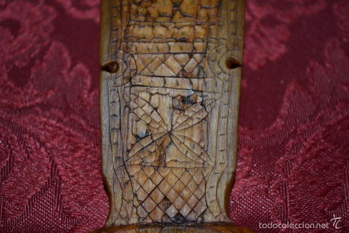 Antigüedades: EXCEPCIONAL CUCHARA DE ASTA,FINAMENTE TALLADA,ARTE PASTORIL,S. XIX-XX - Foto 4 - 57094846