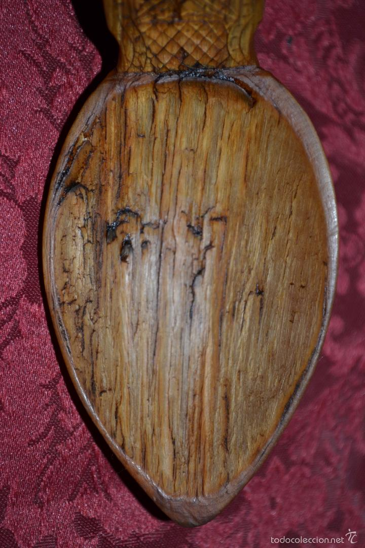 Antigüedades: EXCEPCIONAL CUCHARA DE ASTA,FINAMENTE TALLADA,ARTE PASTORIL,S. XIX-XX - Foto 5 - 57094846