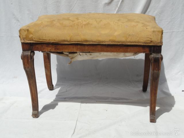 ANTIGUA BANQUETA AUXILIAR PIE DE CAMA. (Antigüedades - Muebles Antiguos - Auxiliares Antiguos)