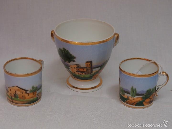 AZUCARERO Y 2 TAZAS DE PORCELANA IMPERIO (Antigüedades - Porcelana y Cerámica - Francesa - Limoges)
