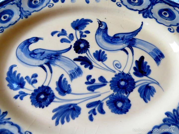 Antigüedades: PLATO CERAMICA PUENTE FIRMADO PEDRAZA - AZUL - Foto 2 - 57099740