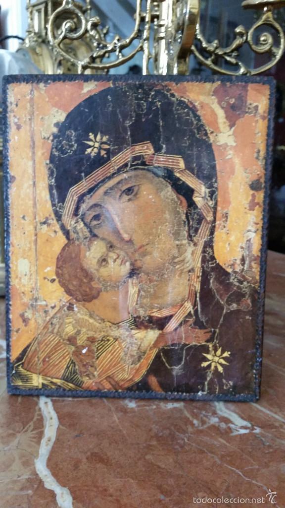 TABLA VIRGEN MUY ANTIGUA (Antigüedades - Religiosas - Varios)