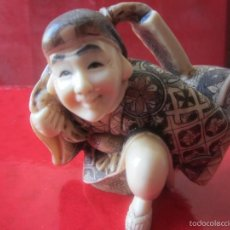 Antigüedades: FIGURA ORIENTAL REPRESENTANDO PERSONAJE CON BARRIL DE VINO. Lote 57102238
