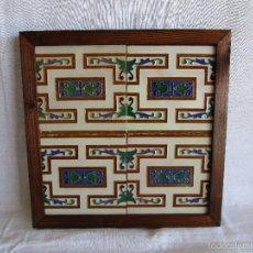 Antigüedades: 4 ANTIGUOS AZULEJOS BALDOSAS MENSAQUE RODRIGUEZ TRIANA AZULEJO BALDOSA ENMARCADAS. Lote 57105248