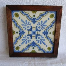 Antigüedades: AZULEJO BALDOSA MODERNISTA ENMARCADA. Lote 57105330