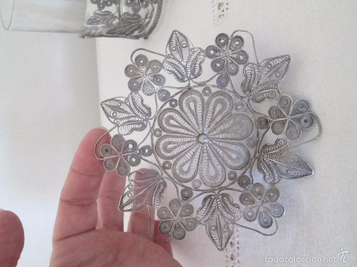 Antigüedades: Antiguo plato y base para vaso en filigrana de plata - Foto 2 - 57117501