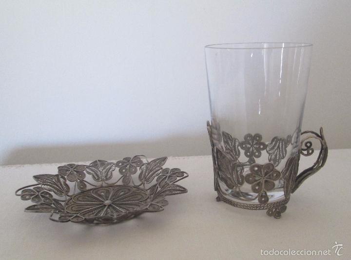 Antigüedades: Antiguo plato y base para vaso en filigrana de plata - Foto 3 - 57117501