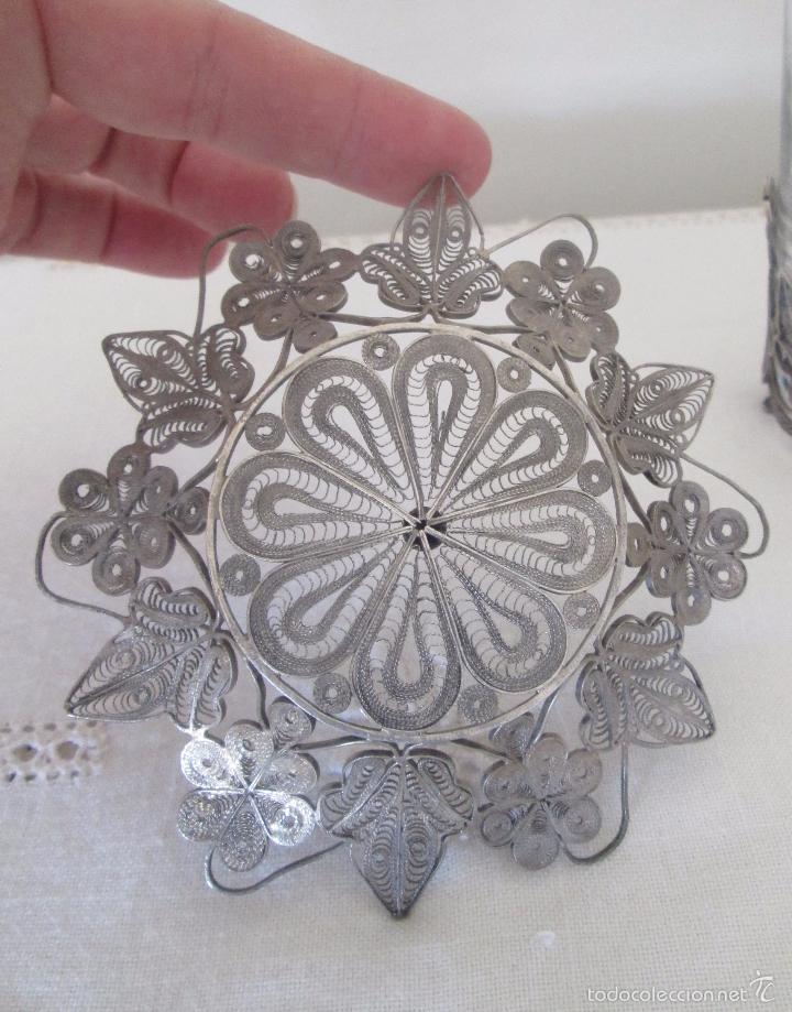 Antigüedades: Antiguo plato y base para vaso en filigrana de plata - Foto 4 - 57117501