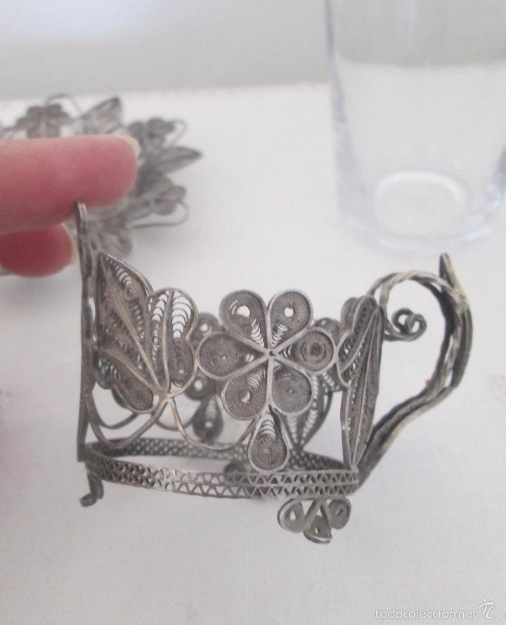 Antigüedades: Antiguo plato y base para vaso en filigrana de plata - Foto 6 - 57117501