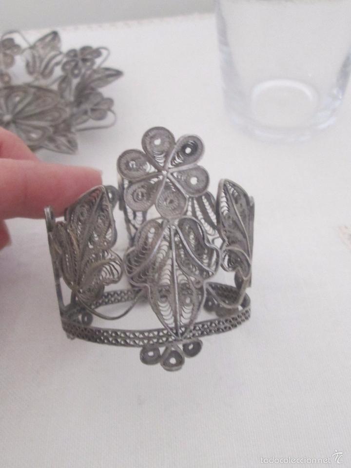 Antigüedades: Antiguo plato y base para vaso en filigrana de plata - Foto 7 - 57117501