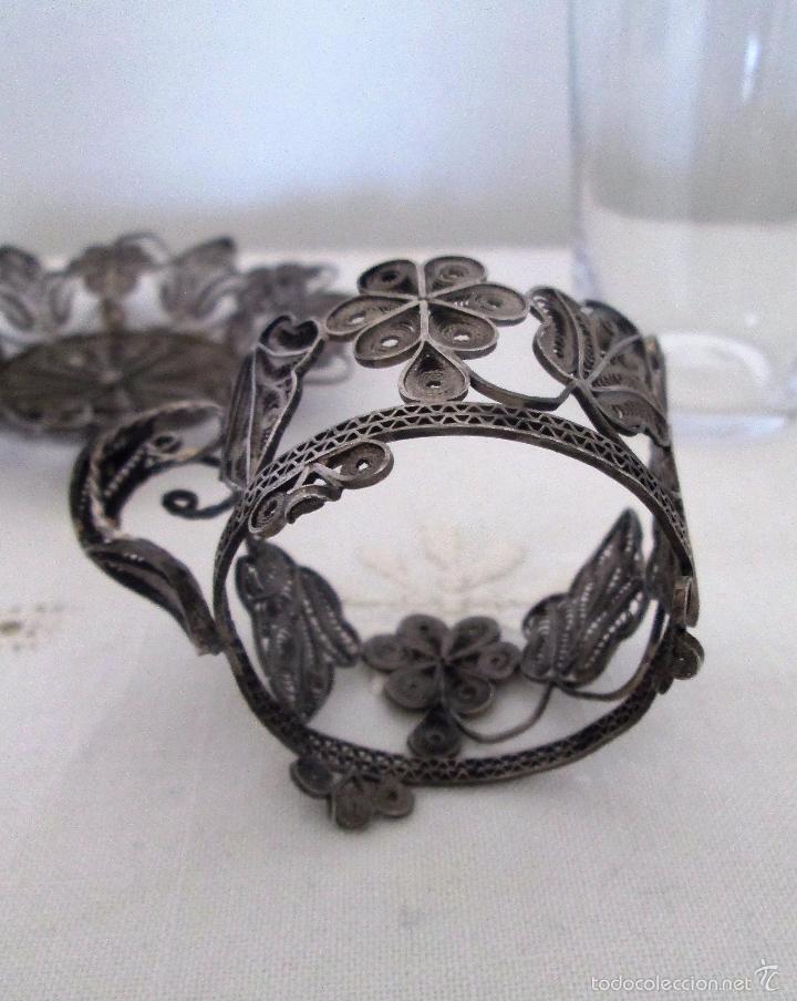 Antigüedades: Antiguo plato y base para vaso en filigrana de plata - Foto 8 - 57117501